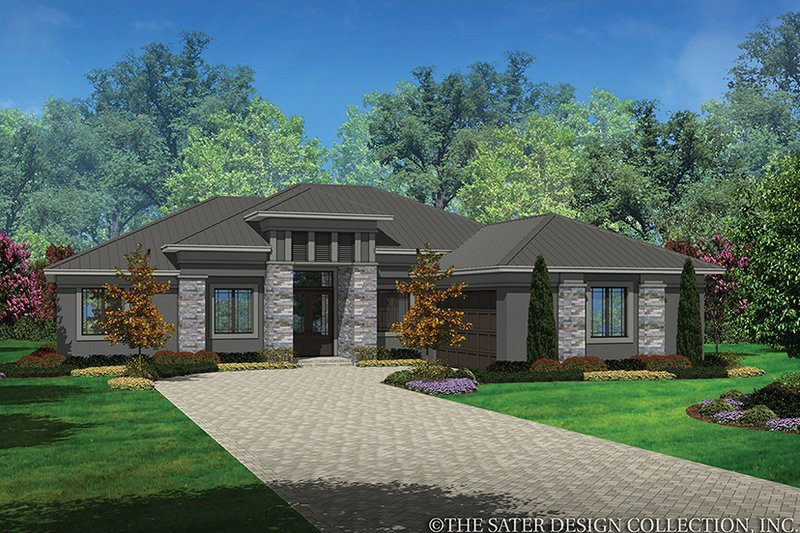 Contemporary Style House Plan - 3 Beds 2 Baths 2042 Sq/Ft Plan #930-455 Exterior - Front Elevation