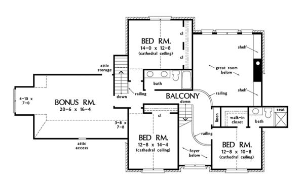 Farmhouse Floor Plan - Upper Floor Plan Plan #929-1000