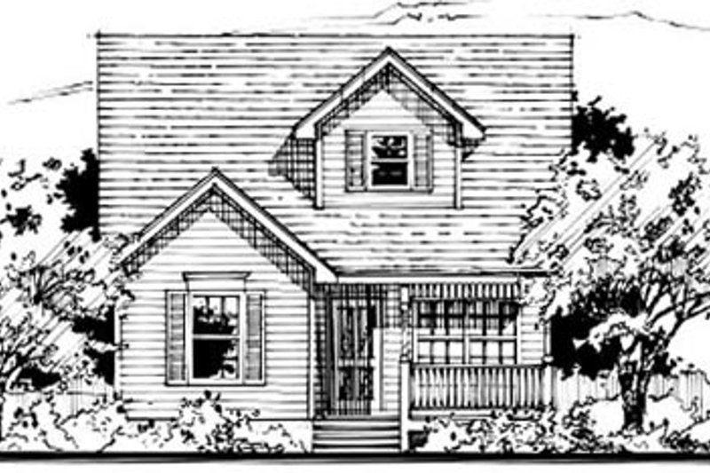 Country Style House Plan - 3 Beds 2 Baths 954 Sq/Ft Plan #50-235 Exterior - Front Elevation
