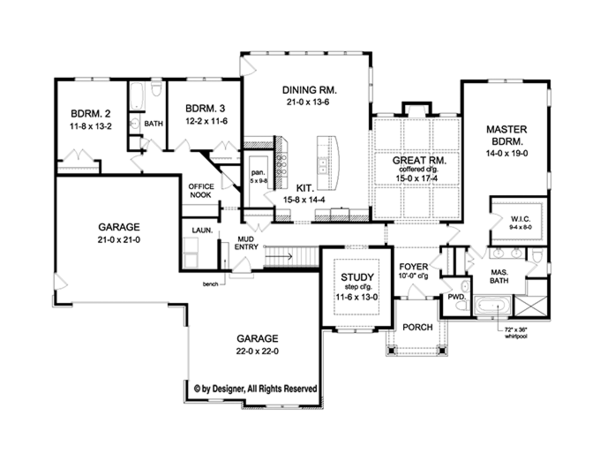 Craftsman Floor Plan - Main Floor Plan Plan #1010-111
