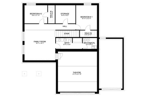 Dream House Plan - Craftsman Floor Plan - Lower Floor Plan #1060-66