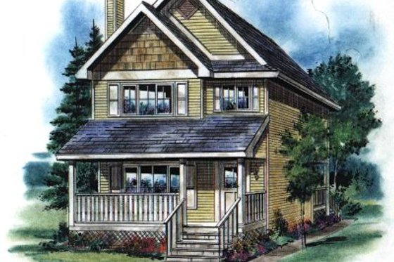 Cottage Exterior - Front Elevation Plan #18-292