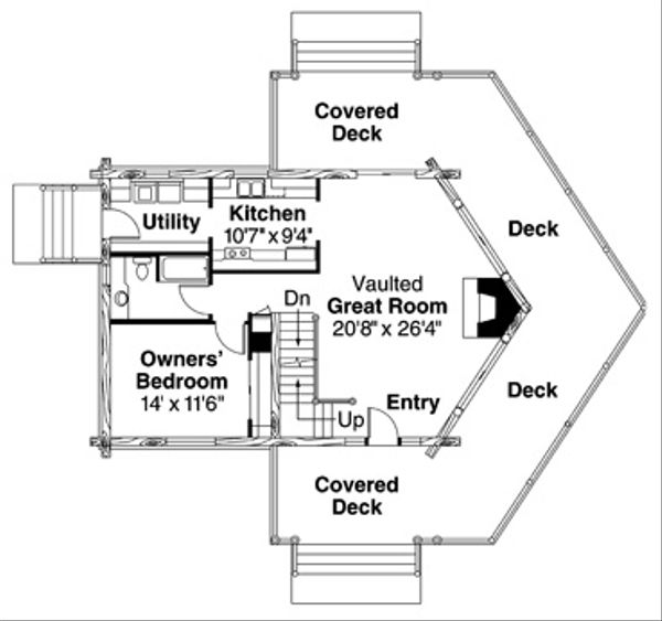 Home Plan - Log Floor Plan - Main Floor Plan #124-503