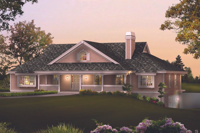 Country Style House Plan - 3 Beds 3 Baths 2800 Sq/Ft Plan #57-577 Exterior - Front Elevation
