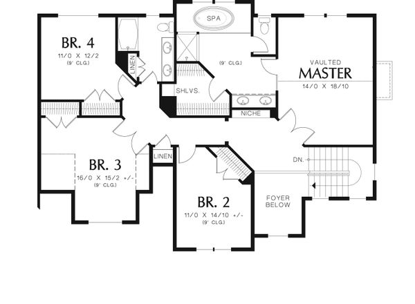 Traditional Floor Plan - Upper Floor Plan Plan #48-538