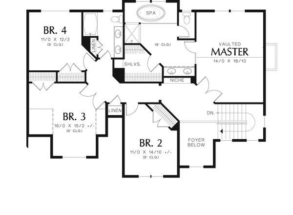 Traditional Floor Plan - Upper Floor Plan Plan #48-538