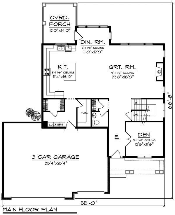 Craftsman Floor Plan - Main Floor Plan #70-1231