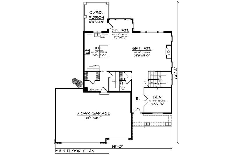 Craftsman Floor Plan - Main Floor Plan Plan #70-1231