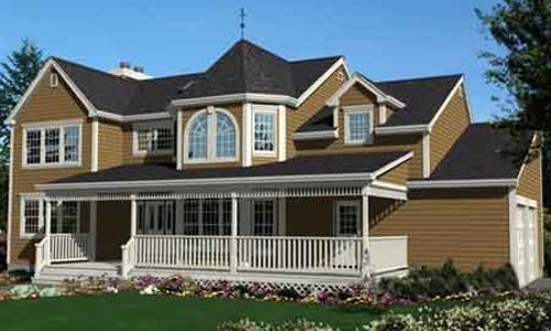 Colonial Style House Plan - 4 Beds 2.5 Baths 2270 Sq/Ft Plan #3-187 Exterior - Front Elevation
