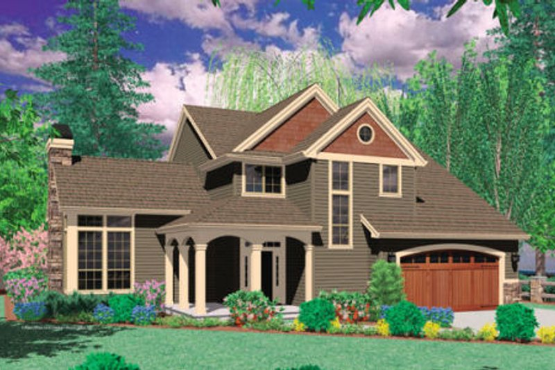 Craftsman Exterior - Front Elevation Plan #48-391