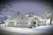 Ranch Style House Plan - 2 Beds 2.5 Baths 2096 Sq/Ft Plan #70-1461 Exterior - Front Elevation