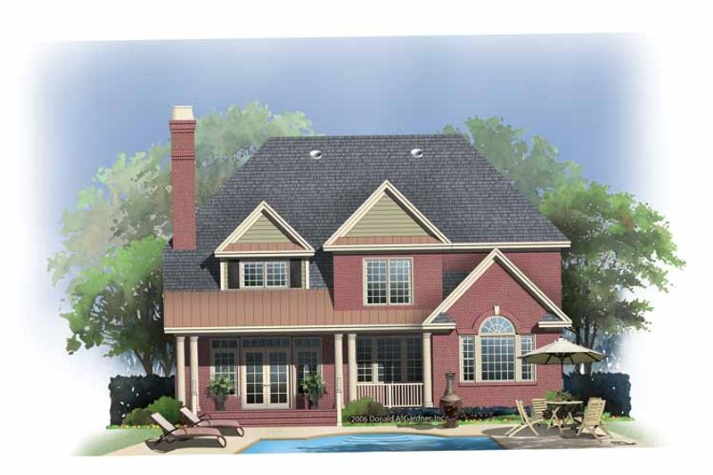 Colonial Exterior - Rear Elevation Plan #929-852 - Houseplans.com