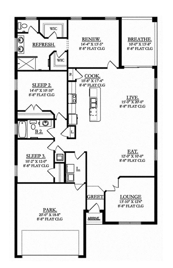 House Plan Design - Mediterranean Floor Plan - Main Floor Plan #1058-70