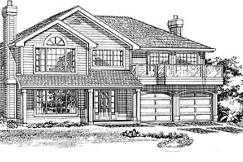 Traditional Style House Plan - 3 Beds 2 Baths 1521 Sq/Ft Plan #47-244 Exterior - Front Elevation