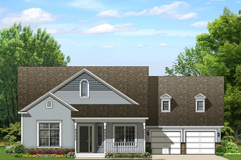 Ranch Exterior - Front Elevation Plan #1058-158
