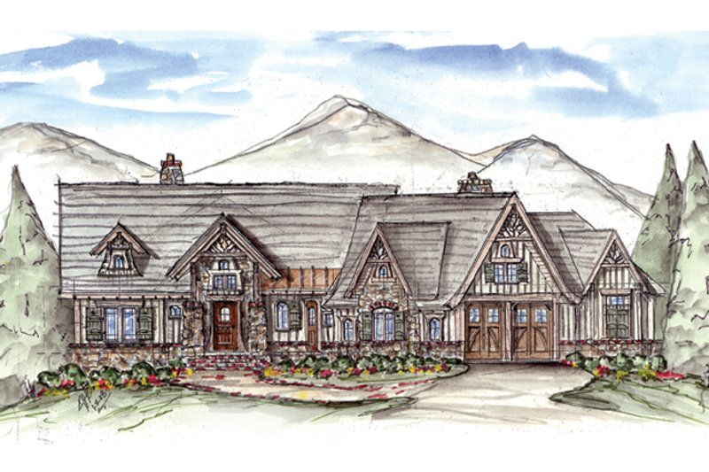 Architectural House Design - Craftsman Exterior - Front Elevation Plan #54-376