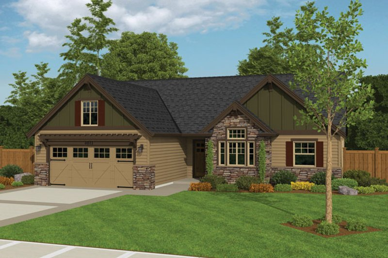 Ranch Style House Plan - 3 Beds 2 Baths 1506 Sq/Ft Plan #943-40 Exterior - Front Elevation