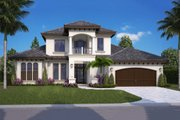 Mediterranean Style House Plan - 4 Beds 4.5 Baths 5232 Sq/Ft Plan #27-562 Exterior - Front Elevation