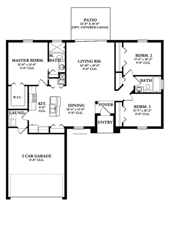 Mediterranean Floor Plan - Main Floor Plan Plan #1058-32