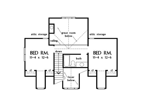 Country Floor Plan - Upper Floor Plan Plan #929-15