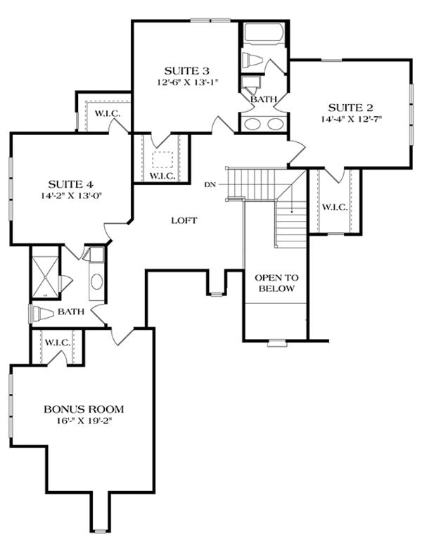 European Floor Plan - Upper Floor Plan Plan #453-636