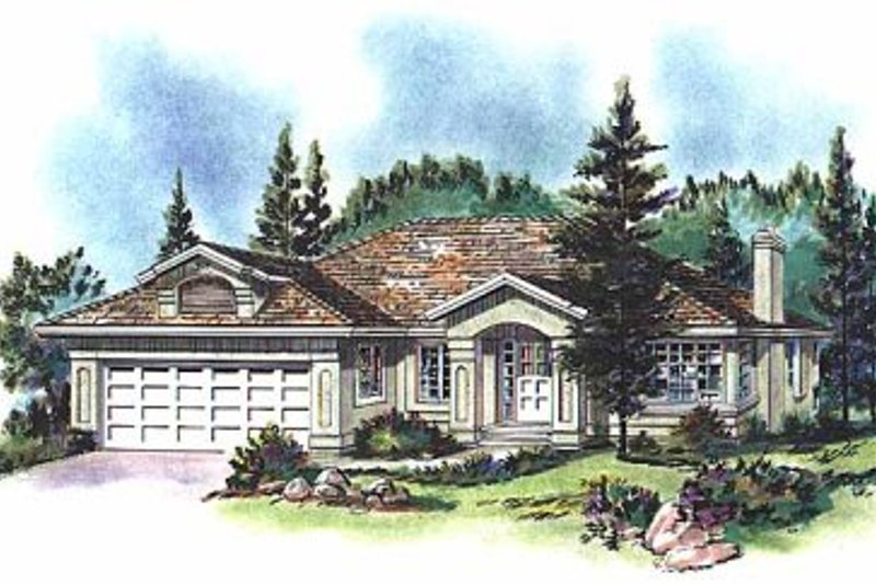 Mediterranean Exterior - Front Elevation Plan #18-150
