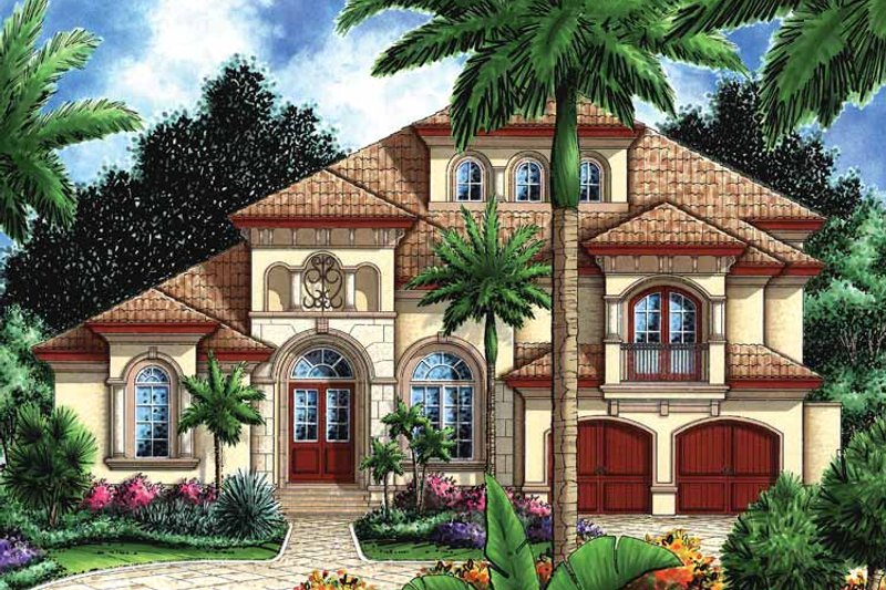 Mediterranean Exterior - Front Elevation Plan #1017-16 - Houseplans.com