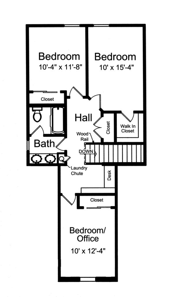 Colonial Floor Plan - Upper Floor Plan Plan #46-843