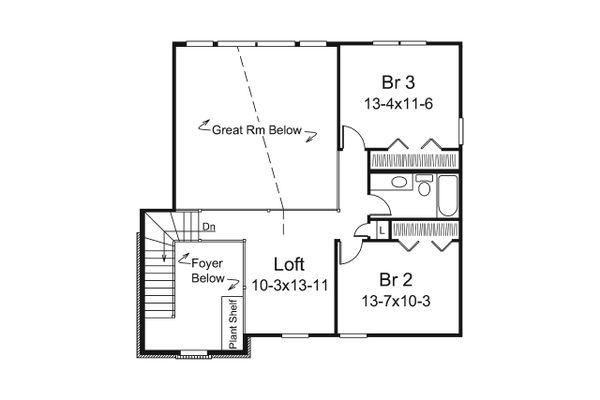 Traditional Floor Plan - Upper Floor Plan Plan #57-655