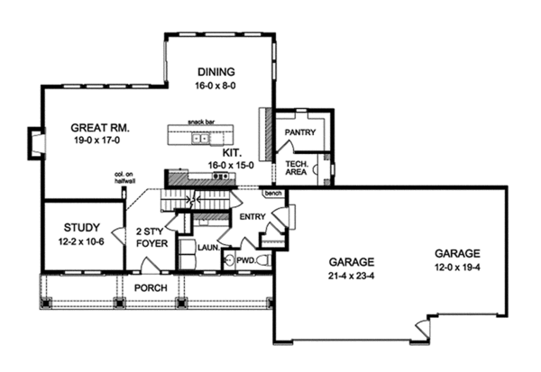 Architectural House Design - Traditional Floor Plan - Main Floor Plan #1010-132