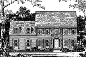 Colonial Exterior - Front Elevation Plan #12-217