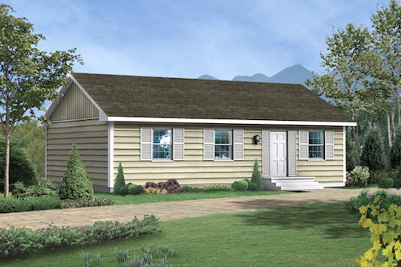 Traditional Style House Plan - 3 Beds 1 Baths 1000 Sq/Ft Plan #57-221