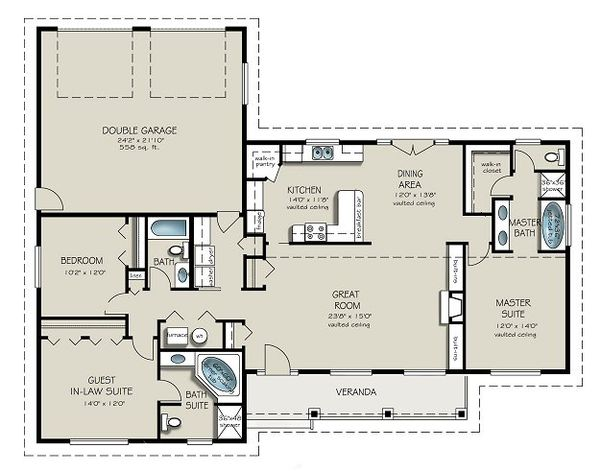 Ranch Floor Plan - Main Floor Plan Plan #427-9