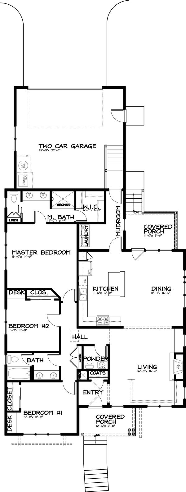 Bungalow Style House Plan - 3 Beds 2.5 Baths 1760 Sq/Ft Plan #434-1 Floor Plan - Main Floor Plan