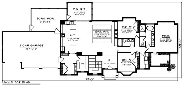 Architectural House Design - Ranch Floor Plan - Main Floor Plan #70-1467