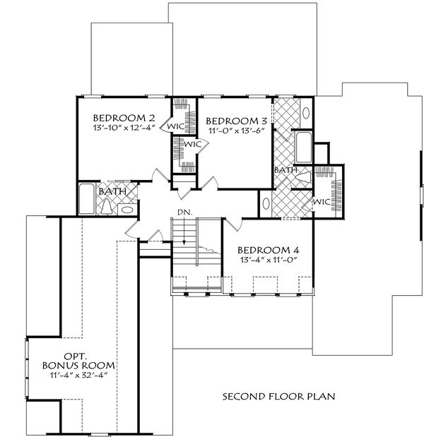 Farmhouse Floor Plan - Upper Floor Plan Plan #927-998