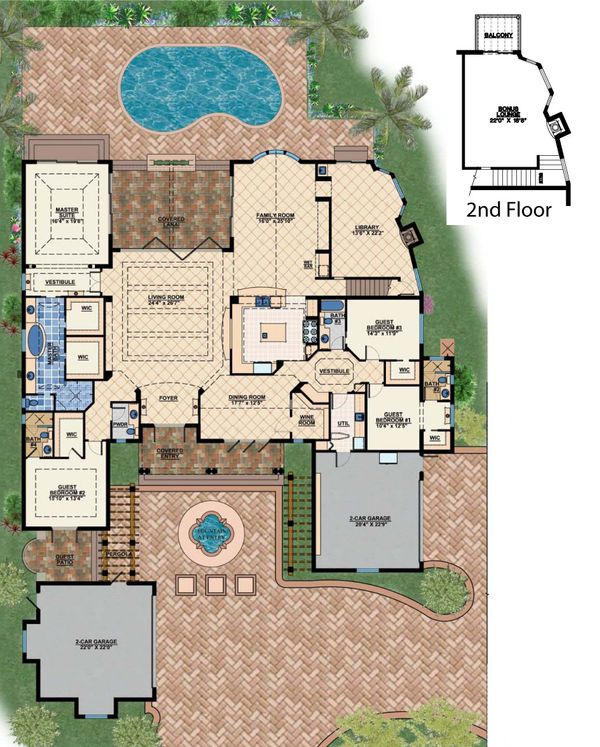 Mediterranean Floor Plan - Main Floor Plan #548-2
