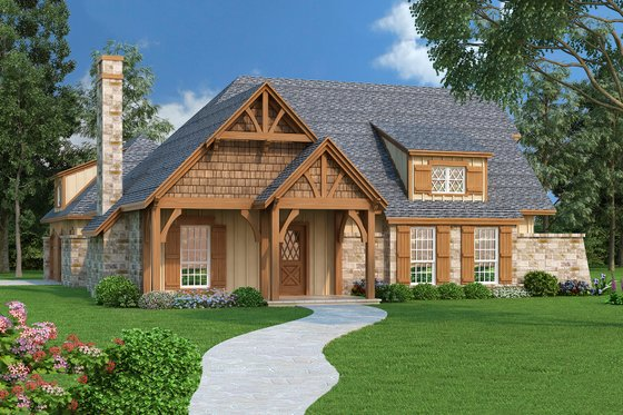 Craftsman Exterior - Front Elevation Plan #45-374