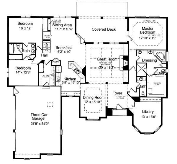 European Floor Plan - Main Floor Plan Plan #46-403