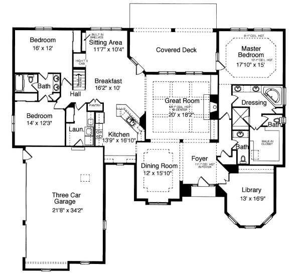 European Floor Plan - Main Floor Plan Plan #46-403