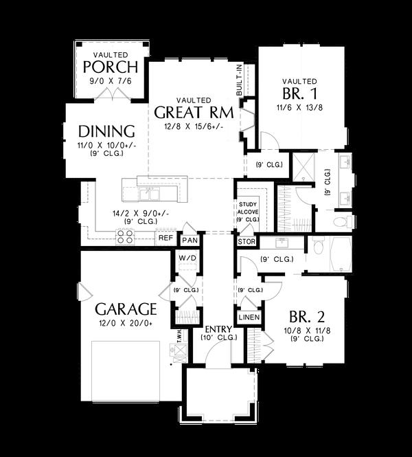 House Plan Design - Cottage Floor Plan - Main Floor Plan #48-1029