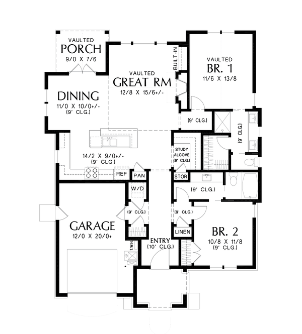 Dream House Plan - Cottage Floor Plan - Main Floor Plan #48-1029
