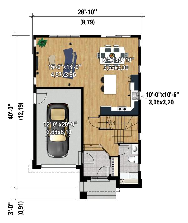Contemporary Floor Plan - Main Floor Plan Plan #25-4320