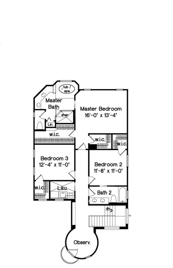 Mediterranean Floor Plan - Upper Floor Plan Plan #135-179
