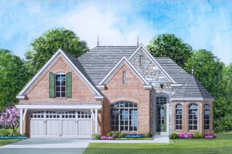 European Style House Plan - 3 Beds 2 Baths 1851 Sq/Ft Plan #424-16 Exterior - Front Elevation