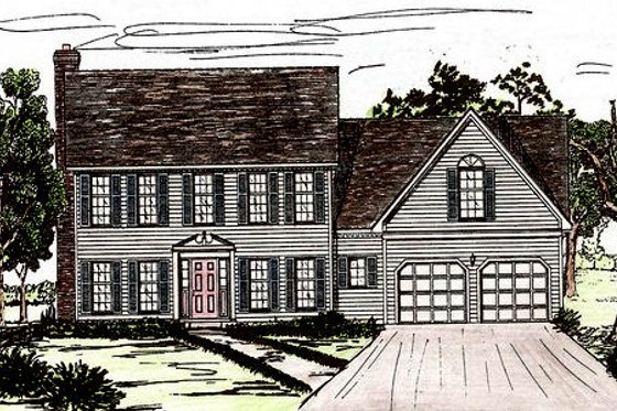 Colonial Exterior - Front Elevation Plan #405-130