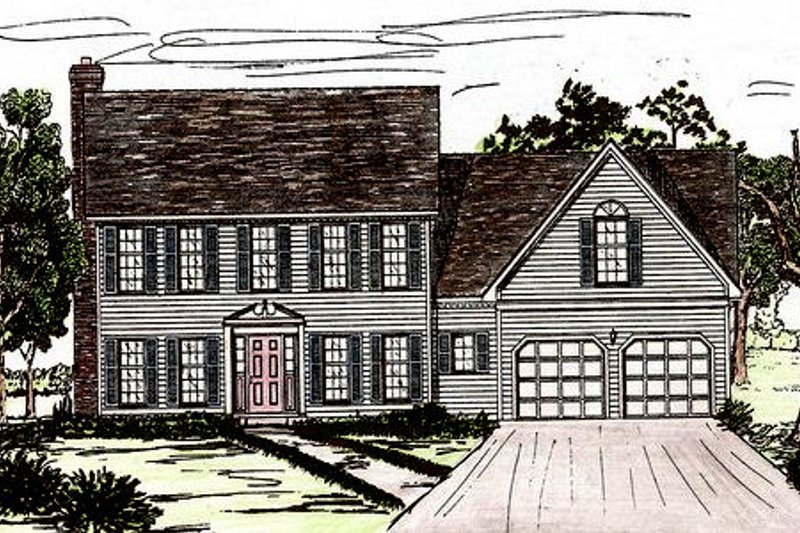 Colonial Style House Plan - 4 Beds 2.5 Baths 2448 Sq/Ft Plan #405-130 Exterior - Front Elevation