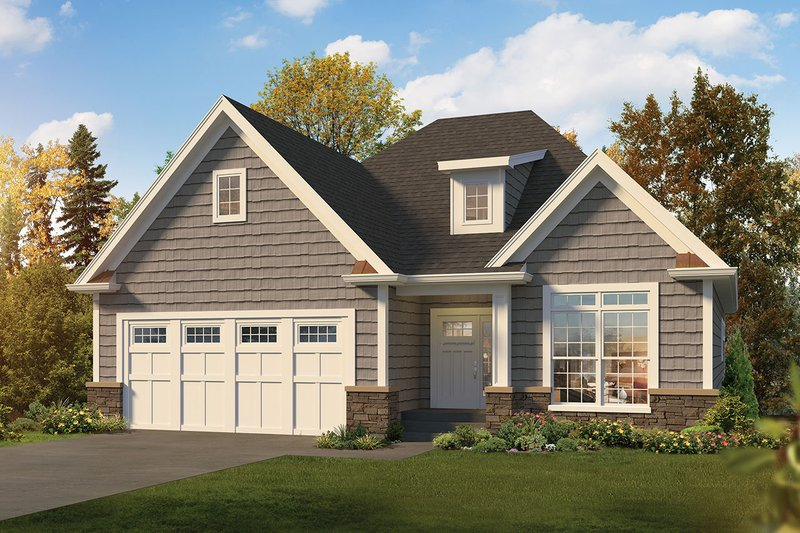 Craftsman Style House Plan - 2 Beds 2 Baths 1615 Sq/Ft Plan #57-666 Exterior - Front Elevation