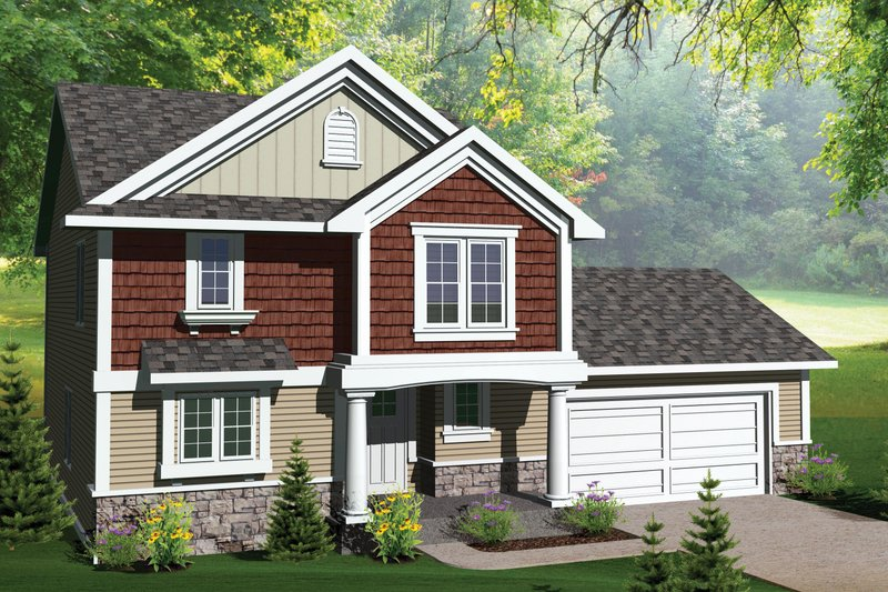Traditional Style House Plan - 3 Beds 2.5 Baths 1624 Sq/Ft Plan #70-1068