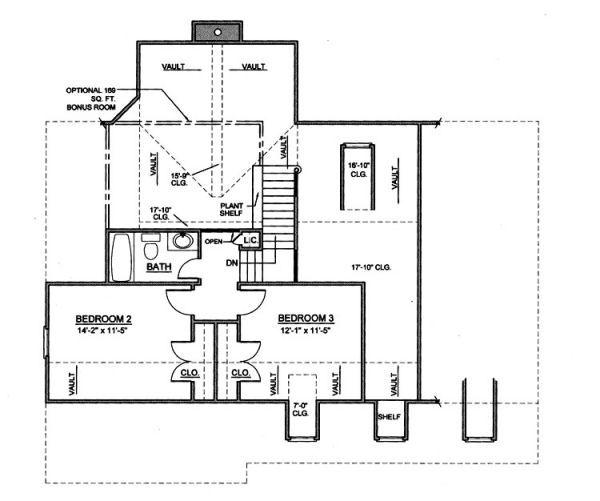 Country Floor Plan - Upper Floor Plan Plan #119-268